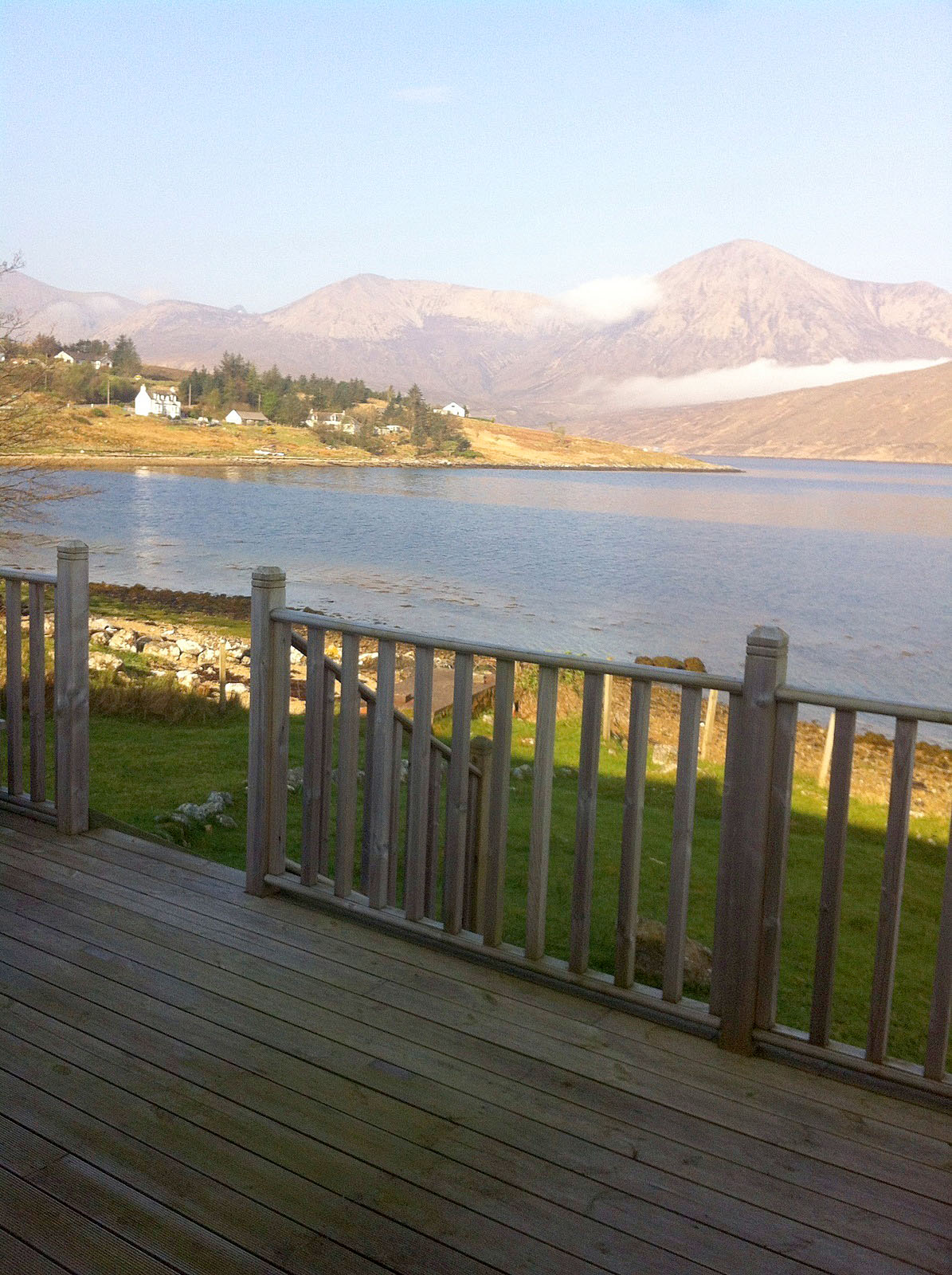 The decking at Otters Leap cottage, Skye