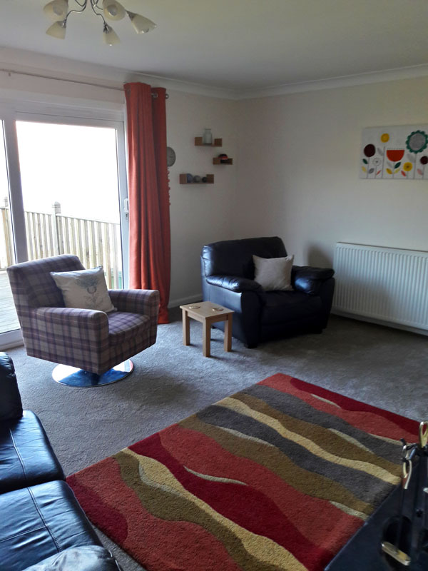The living room at Otters Leap cottage, Skye
