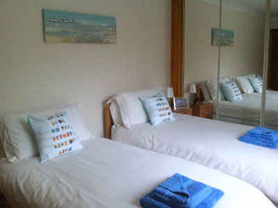 The twin bedroom at Otters Leap cottage, Skye